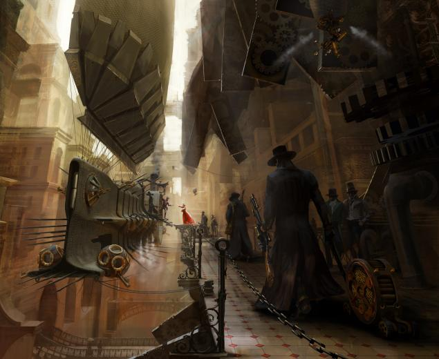 Wallpaper drawing steampunk airship wallpapers fantasy   download