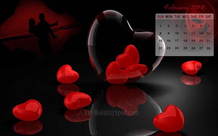 beautiful calendar wallpaper of February 2015 themed with Love
