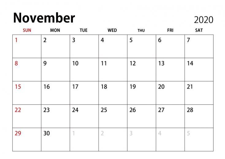 November 2020 Calendar ImageIllustoon
