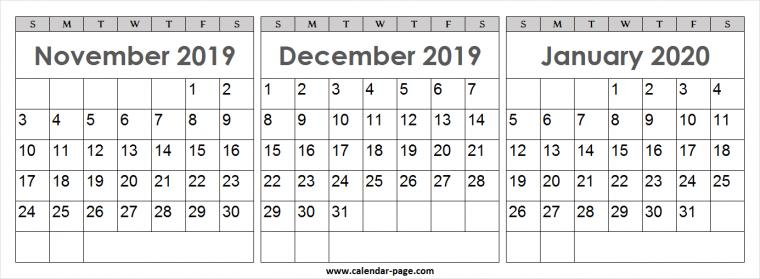 Calendar 2019 November December 2020 January Blank PNG Wallpaper
