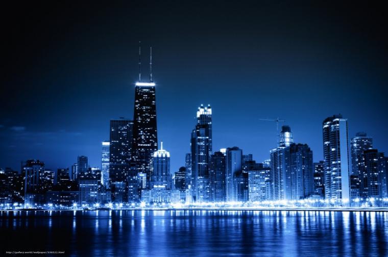 wallpaper Chicago blue night city lights desktop wallpaper