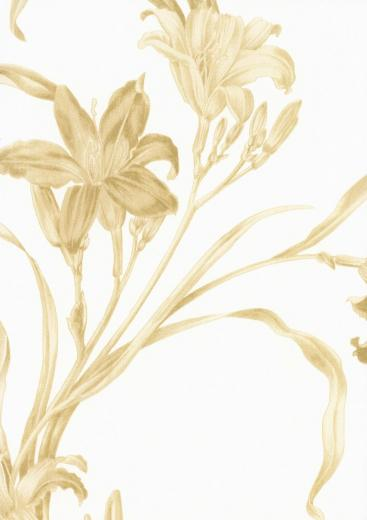 Decowunder wallpapers non woven wallpaper flowers white gold 46843