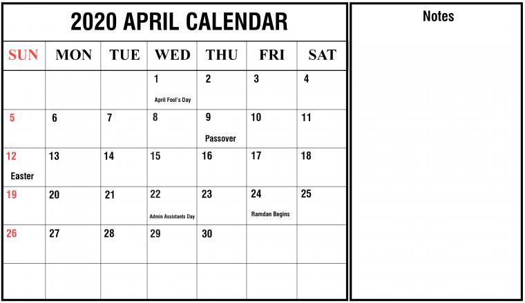April 2020 Calendar With Holidays Calendar Marketing calendar