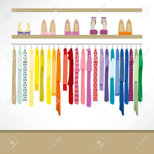 Fashion Shop Background With Clothing On Hangers Shirts Dresses