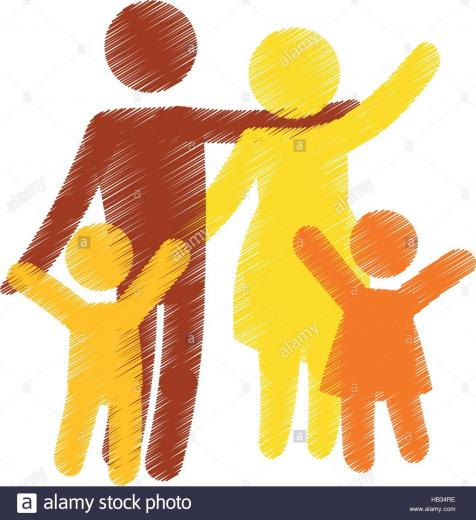 family of parents and kids over white background colorful and