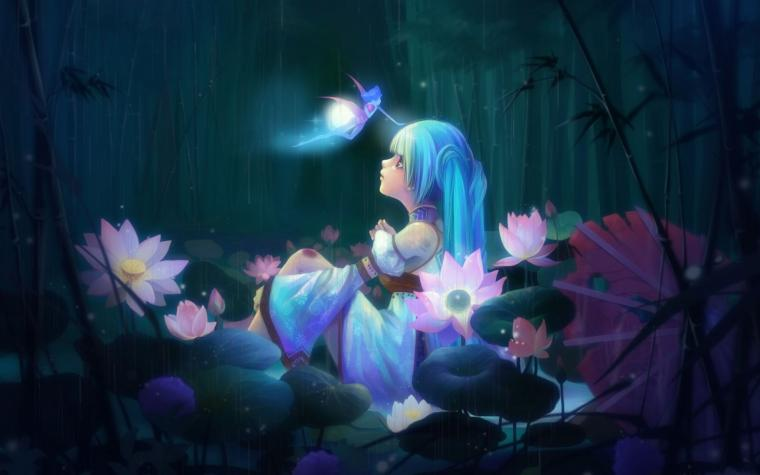Fantasy art fairy trees forest magic flowers girl