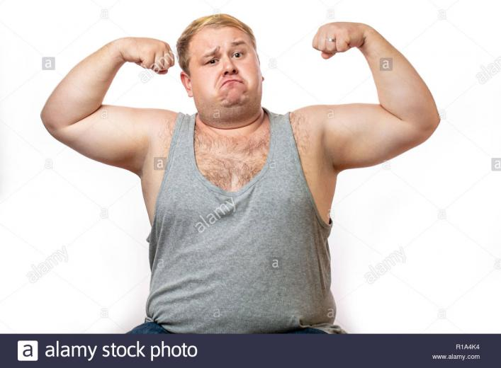 Funny overweight sports man flexing his muscle isolated on white