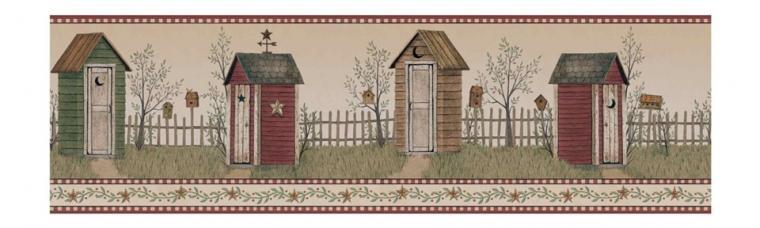 Outhouse Wallpaper Border BG1621BD primitive country bath decor