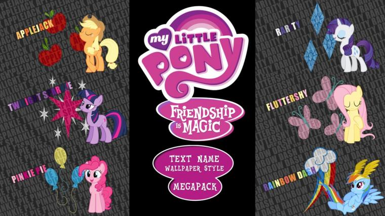 My Little Pony FIM Text Name Wallpaper Megapack by