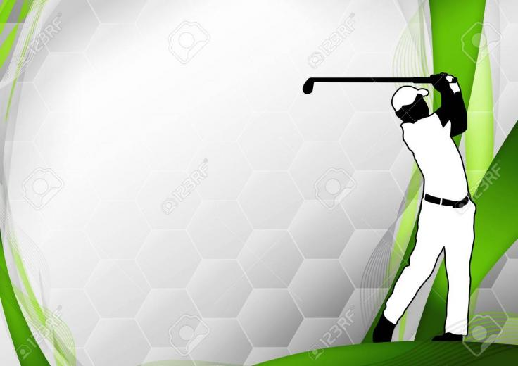 Golf Poster Golfer Shooting Background With Space Stock Photo