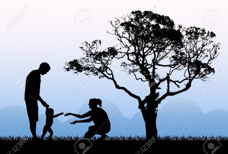 Silhouettes Of Parents With A Child Playing On The Background