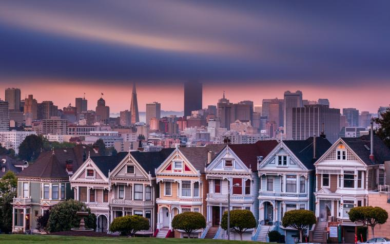 San Francisco city cities buildings building clouds houses house