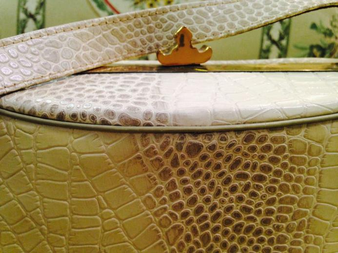 Vintage Faux Ivory Alligator purse from pastmeetspresent on Ruby Lane