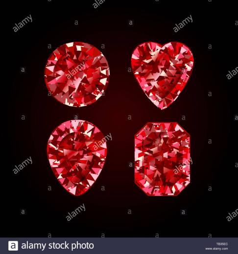 Set of Realistic Red ruby Diamond isolated on black background