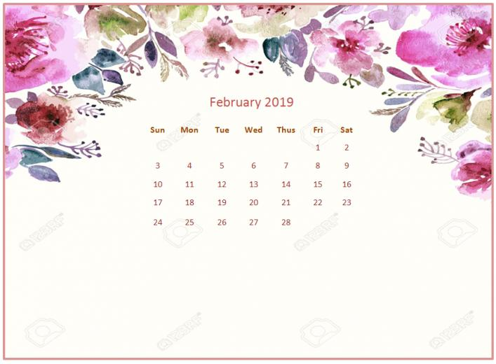 2019 Monthly Floral Calendar Wallpaper