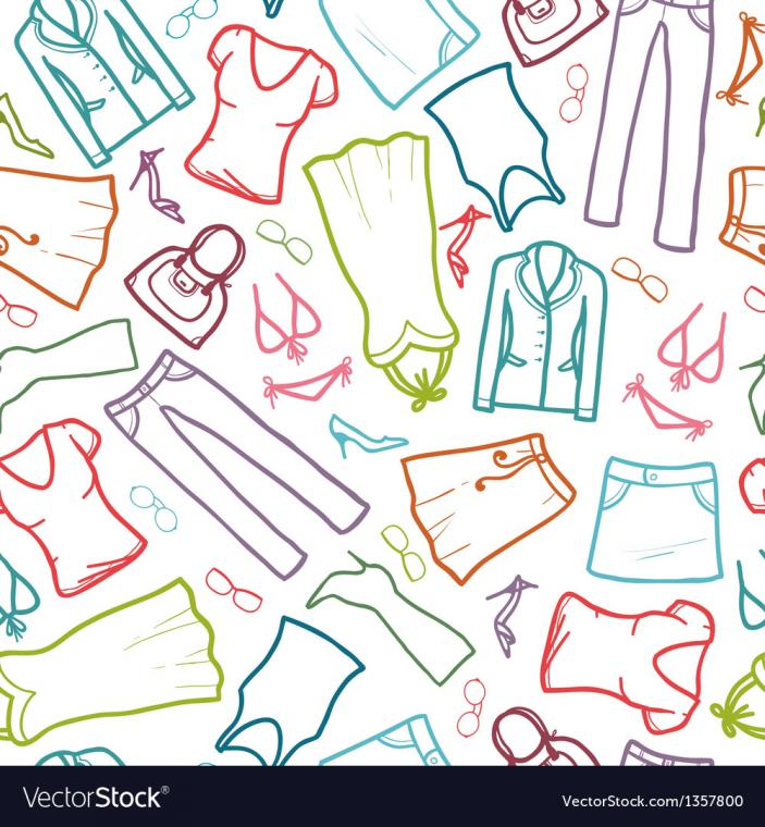 Wardrobe clothing seamless pattern background Vector Image