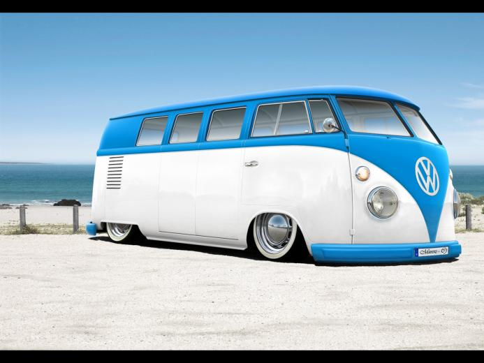 vw volkswagen combi van bus lowered wallpaper 1600x1200