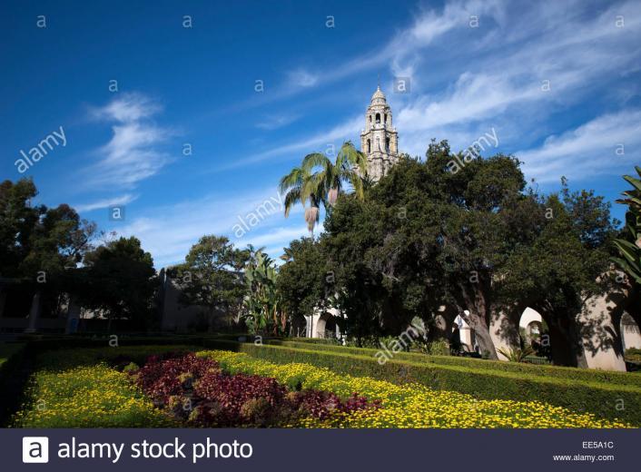 Alcazar Garden California Tower in Background Balboa Pack San