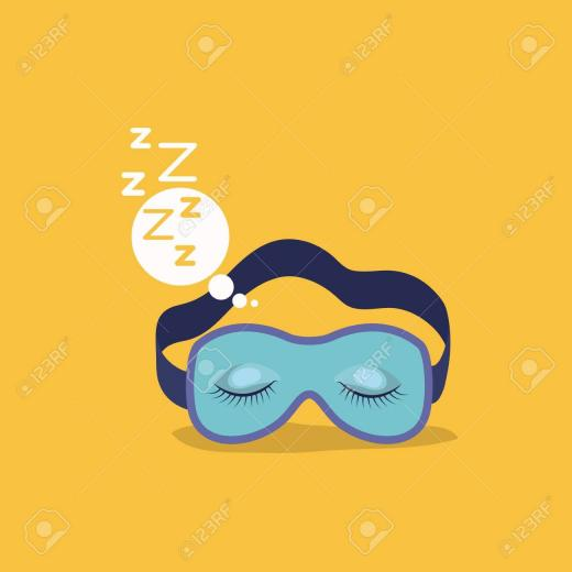 Color Background With Sleep Mask With Snoring Sign In Bubble