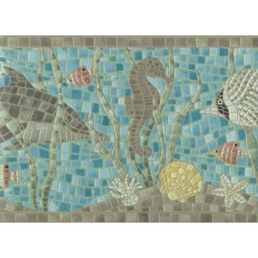 the Sea Faux Mosaic Tile Wallpaper Border   All 4 Walls Wallpaper