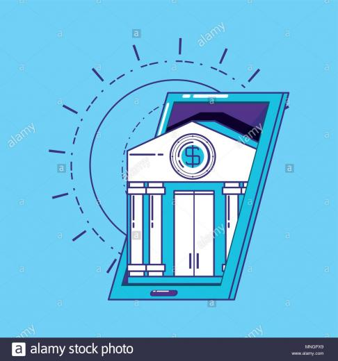 financial technology concept with smartphone with bank building