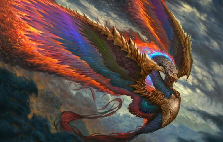 Wallpaper fire bird wings feathers beak fantasy art Fenix