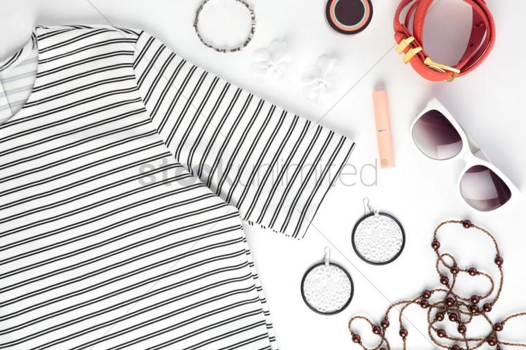 Womens clothing and accessories on white background Stock Photo