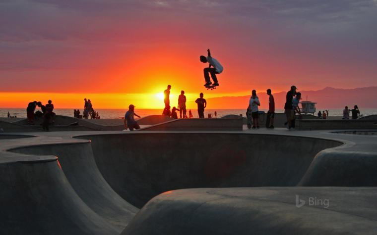 Skateboarding at Venice Beach California mgsMomentGetty