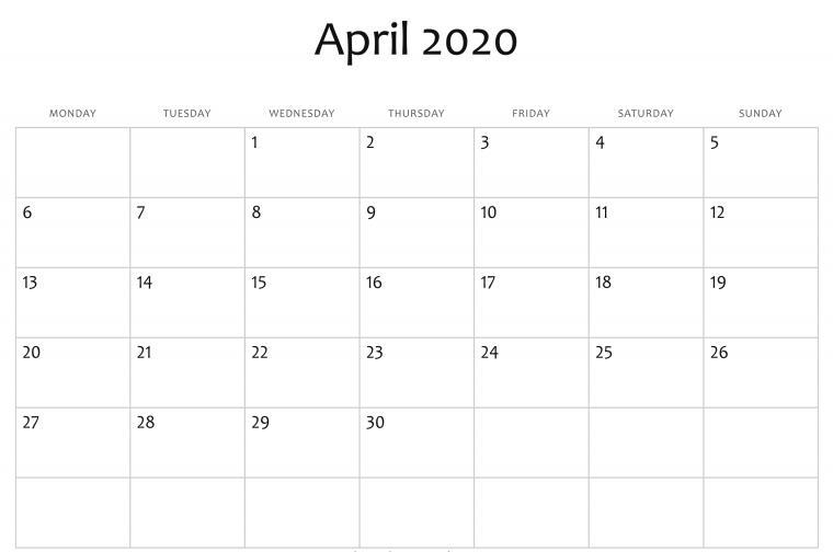 Editable April 2020 Calendar Printable Template With Holidays