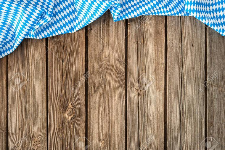 Rustic Background For Oktoberfest With Bavarian White And Blue