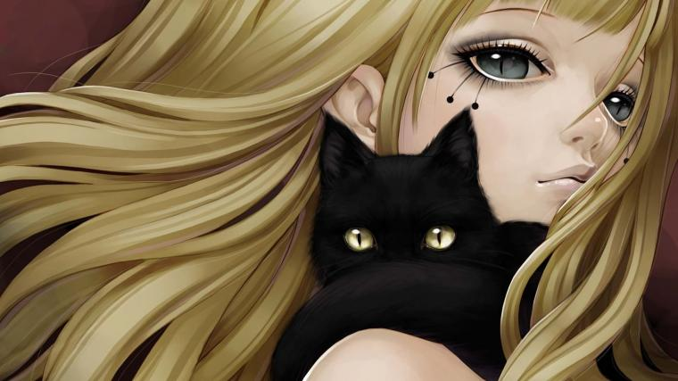 Anime Girl And Black Cat   High Definition Wallpapers   HD wallpapers