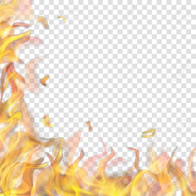 Translucent Fire Flame On Left And Below On Transparent Background