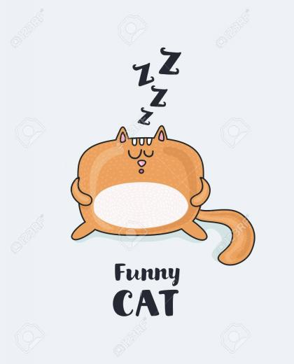 Vector Cartoon Funny Illustration Of Sleepy Fat Funny Red Snoring