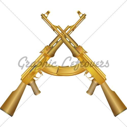 Two Gold Ak 47 GL Stock Images