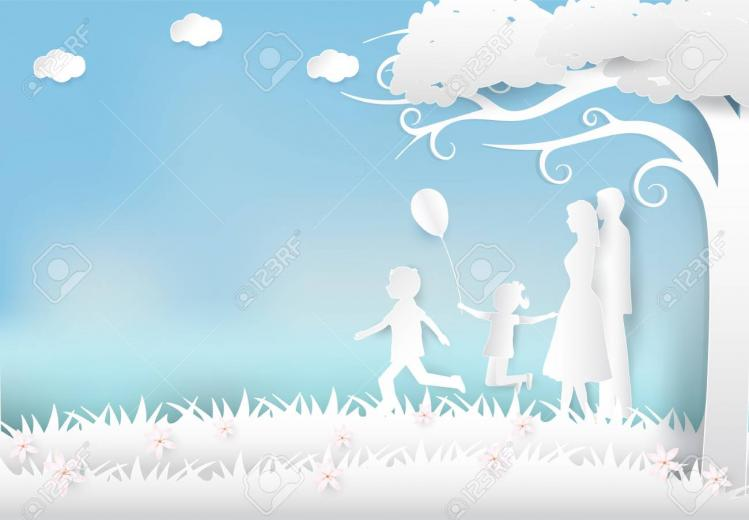 Happy Family Having Fun In The Meadow Happy Parents Day Paper