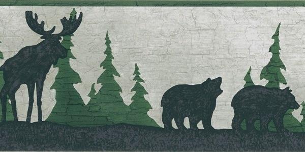 Moose Bear Pine Tree Silhouettes Wallpaper Border Outdoor decor