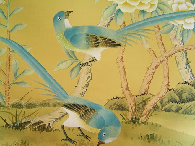 Made in China chinoiserie silk wallpaper