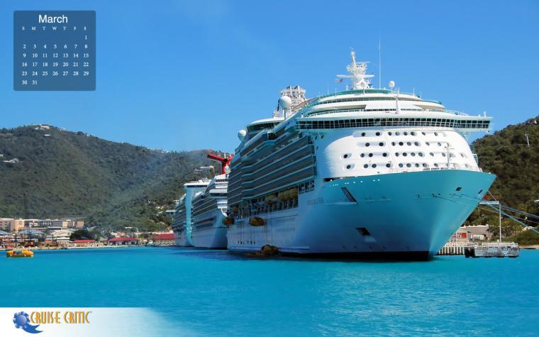 March 2014 Desktop Calendar Cruise Ships in St Maarten The Lido