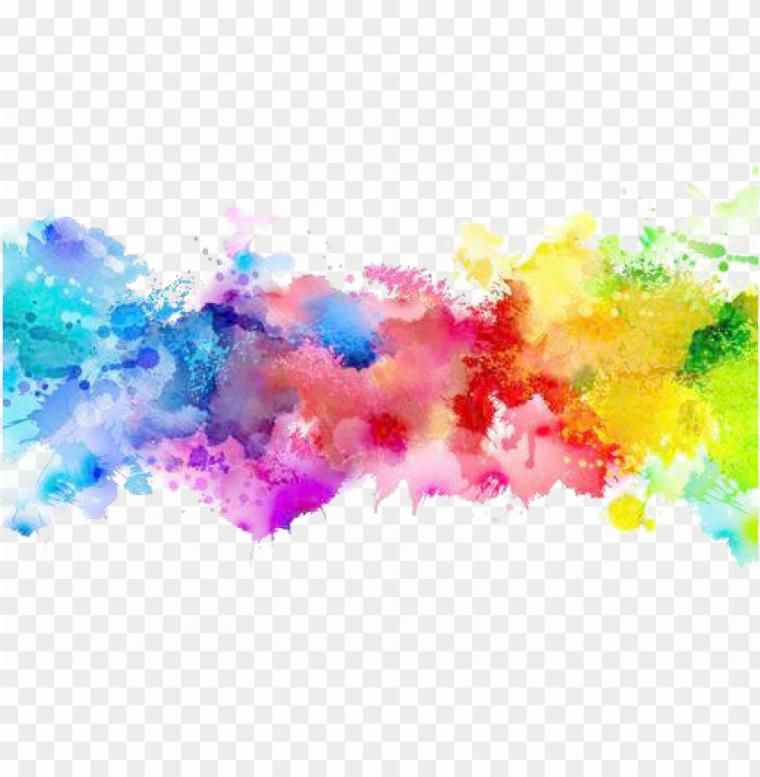 color png transparent   paint splatter rainbow PNG image with