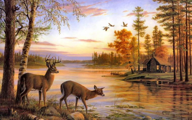 deer artwork cabin lakes 1920x1200 wallpaper High Resolution Wallpaper