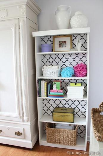 Wallpaper back of bookcase crafties diy ideas Pinterest