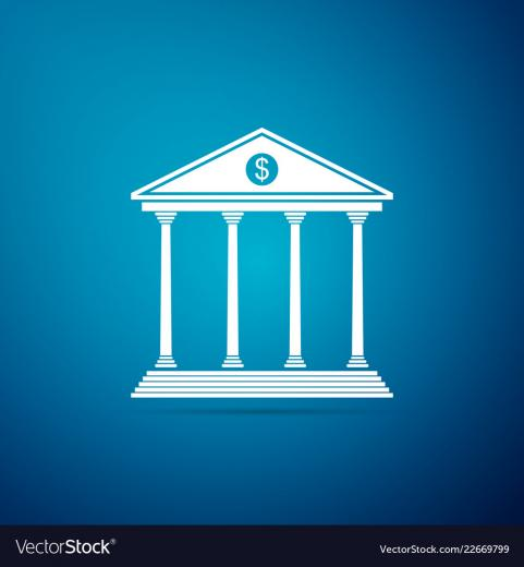 Bank building icon isolated on blue background Vector Image