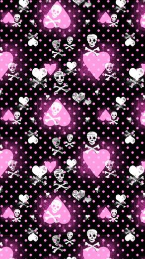 Pink Heart and Skull Patterns Wallpaper   iPhone Wallpapers