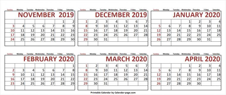 6 Month November 2019 To April 2020 Calendar Template Blank Images
