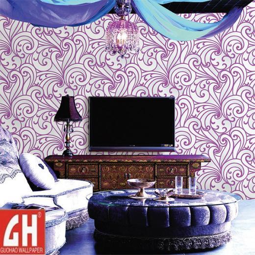 China Removable Purple and White Vinyl Wallpaper   China Wallpaper