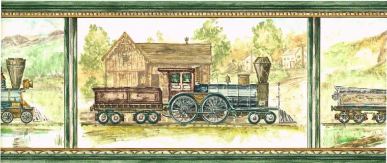 Locomotive Steam Engine Train Scenic Green Wallpaper Border eBay