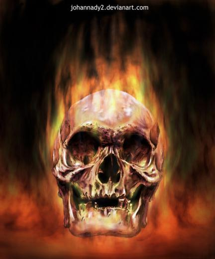 red flaming skull by johannady2