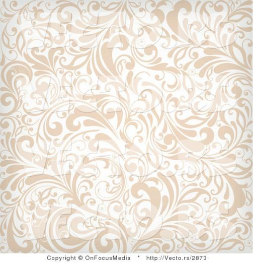 Vector of Beige and White Vines Background Pattern with Flourishes by