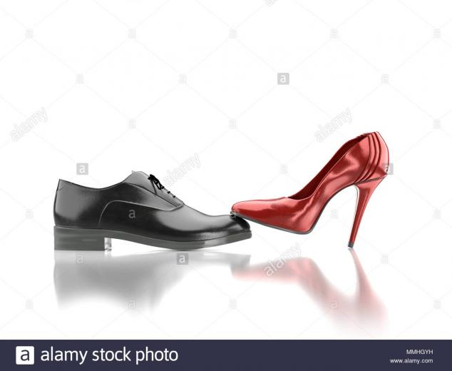 3D render of female red high hilled shoe pressing against black