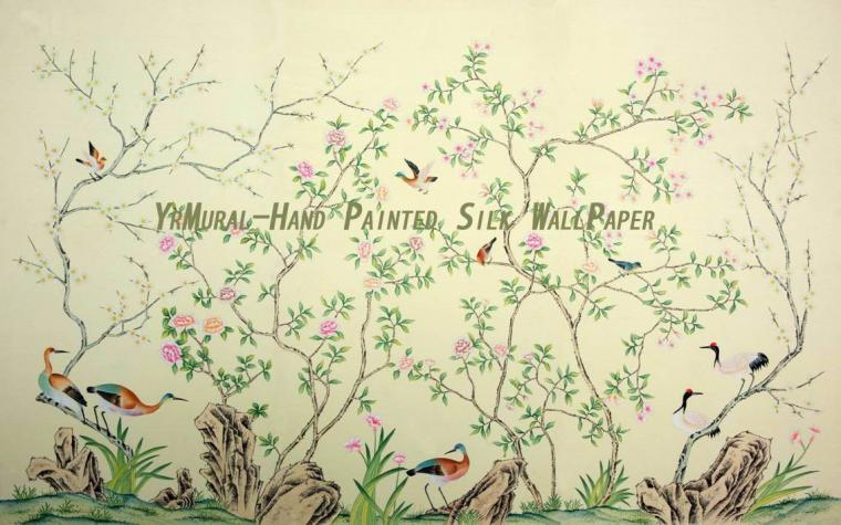 Hand Painted Chinese Style Silk Wall Mural YRS 004 jpg